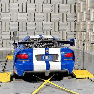 anechoic chamber featuring a sports car acoustic test